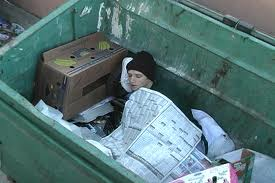 Image result for person in a dumpster